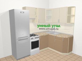 Угловая кухня МДФ матовый в современном стиле 5,7 м², 230 на 160 см, Керамик / Кофе, верхние модули 72 см, посудомоечная машина, холодильник, отдельно стоящая плита