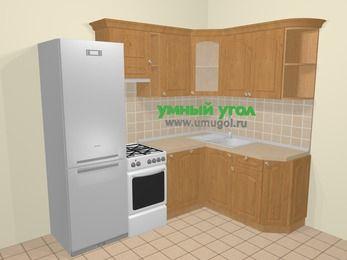 Угловая кухня МДФ матовый в стиле кантри 5,7 м², 230 на 160 см, Ольха, верхние модули 72 см, посудомоечная машина, холодильник, отдельно стоящая плита