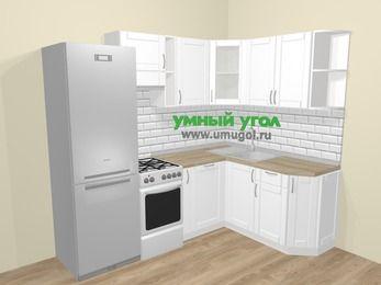 Угловая кухня МДФ матовый  в скандинавском стиле 5,7 м², 230 на 160 см, Белый, верхние модули 72 см, посудомоечная машина, холодильник, отдельно стоящая плита