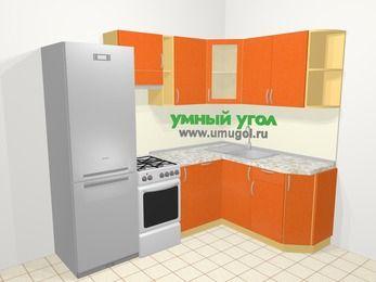 Угловая кухня МДФ металлик в современном стиле 5,7 м², 230 на 160 см, Оранжевый металлик, верхние модули 72 см, посудомоечная машина, холодильник, отдельно стоящая плита