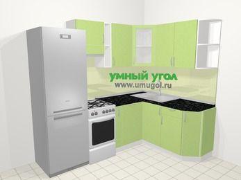 Угловая кухня МДФ металлик в современном стиле 5,7 м², 230 на 160 см, Салатовый металлик, верхние модули 72 см, посудомоечная машина, холодильник, отдельно стоящая плита