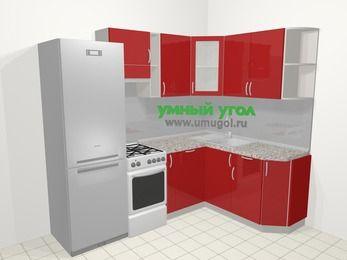 Угловая кухня МДФ глянец в современном стиле 5,7 м², 230 на 160 см, Красный, верхние модули 72 см, посудомоечная машина, холодильник, отдельно стоящая плита