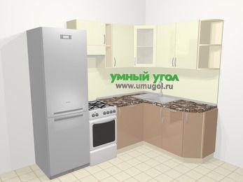 Угловая кухня МДФ глянец в современном стиле 5,7 м², 230 на 160 см, Жасмин / Капучино, верхние модули 72 см, посудомоечная машина, холодильник, отдельно стоящая плита