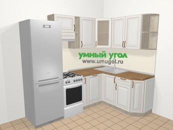 Угловая кухня МДФ патина в классическом стиле 5,7 м², 230 на 160 см, Лиственница белая, верхние модули 72 см, посудомоечная машина, холодильник, отдельно стоящая плита