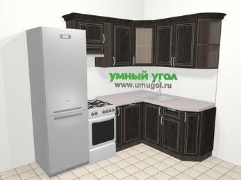 Угловая кухня МДФ патина в классическом стиле 5,7 м², 230 на 160 см, Венге, верхние модули 72 см, посудомоечная машина, холодильник, отдельно стоящая плита