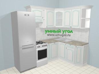 Угловая кухня МДФ патина в стиле прованс 5,7 м², 230 на 160 см, Лиственница белая, верхние модули 72 см, посудомоечная машина, холодильник, отдельно стоящая плита