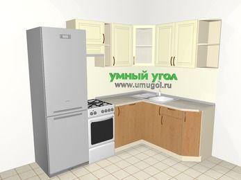Угловая кухня из МДФ + ЛДСП 5,7 м², 2300 на 1600 мм, Ваниль / Ольха, верхние модули 720 мм, посудомоечная машина, холодильник, отдельно стоящая плита