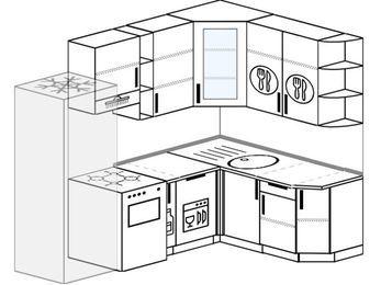 Угловая кухня 5,7 м² (2,3✕1,6 м), верхние модули 92 см, посудомоечная машина, холодильник, отдельно стоящая плита