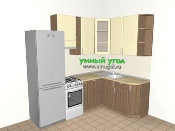 Угловая кухня МДФ матовый 5,7 м², 2300 на 1600 мм, Ваниль / Лиственница бронзовая, верхние модули 920 мм, посудомоечная машина, холодильник, отдельно стоящая плита