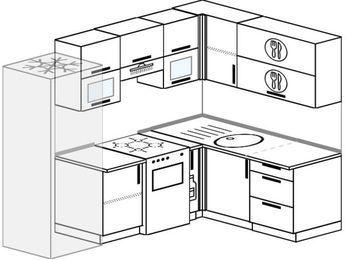 Планировка угловой кухни 5,7 м², 230 на 160 см: верхние модули 72 см, холодильник, отдельно стоящая плита, корзина-бутылочница