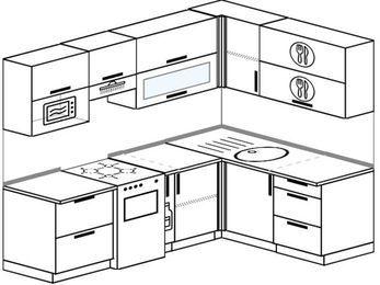 Планировка угловой кухни 5,7 м², 230 на 160 см: верхние модули 72 см, отдельно стоящая плита, корзина-бутылочница, верхний модуль под свч