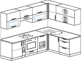 Планировка угловой кухни 5,7 м², 2300 на 1600 мм: верхние модули 720 мм, корзина-бутылочница, встроенный духовой шкаф, посудомоечная машина