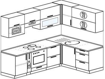 Планировка угловой кухни 5,7 м², 230 на 160 см: верхние модули 72 см, корзина-бутылочница, встроенный духовой шкаф, верхний модуль под свч