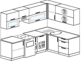 Планировка угловой кухни 5,7 м², 230 на 160 см: верхние модули 72 см, отдельно стоящая плита, корзина-бутылочница, посудомоечная машина