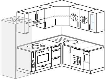 Планировка угловой кухни 5,7 м², 230 на 160 см: верхние модули 72 см, холодильник, корзина-бутылочница, встроенный духовой шкаф, посудомоечная машина