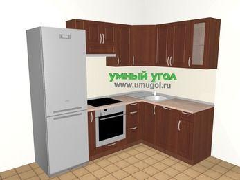 Угловая кухня МДФ матовый 5,7 м², 2300 на 1600 мм, Вишня темная: верхние модули 720 мм, холодильник, корзина-бутылочница, встроенный духовой шкаф, посудомоечная машина