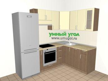Угловая кухня МДФ матовый 5,7 м², 2300 на 1600 мм, Ваниль / Лиственница бронзовая: верхние модули 720 мм, холодильник, корзина-бутылочница, встроенный духовой шкаф, посудомоечная машина