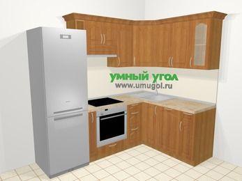Угловая кухня МДФ матовый в классическом стиле 5,7 м², 230 на 160 см, Вишня: верхние модули 72 см, холодильник, корзина-бутылочница, встроенный духовой шкаф, посудомоечная машина