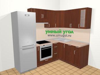 Угловая кухня МДФ матовый в классическом стиле 5,7 м², 230 на 160 см, Вишня темная: верхние модули 72 см, холодильник, корзина-бутылочница, встроенный духовой шкаф, посудомоечная машина