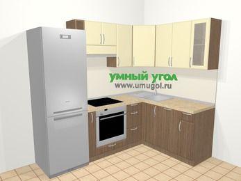 Угловая кухня МДФ матовый в современном стиле 5,7 м², 230 на 160 см, Ваниль / Лиственница бронзовая: верхние модули 72 см, холодильник, корзина-бутылочница, встроенный духовой шкаф, посудомоечная машина