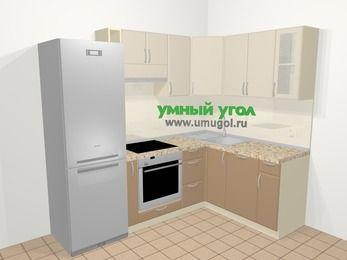 Угловая кухня МДФ матовый в современном стиле 5,7 м², 230 на 160 см, Керамик / Кофе: верхние модули 72 см, холодильник, корзина-бутылочница, встроенный духовой шкаф, посудомоечная машина