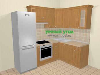 Угловая кухня МДФ матовый в стиле кантри 5,7 м², 230 на 160 см, Ольха: верхние модули 72 см, холодильник, корзина-бутылочница, встроенный духовой шкаф, посудомоечная машина