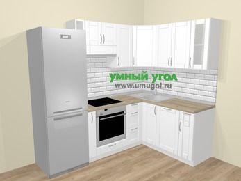 Угловая кухня МДФ матовый  в скандинавском стиле 5,7 м², 230 на 160 см, Белый: верхние модули 72 см, холодильник, корзина-бутылочница, встроенный духовой шкаф, посудомоечная машина