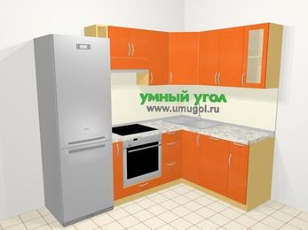 Угловая кухня МДФ металлик в современном стиле 5,7 м², 230 на 160 см, Оранжевый металлик: верхние модули 72 см, холодильник, корзина-бутылочница, встроенный духовой шкаф, посудомоечная машина