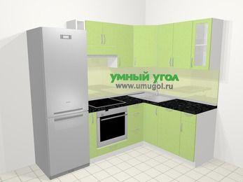 Угловая кухня МДФ металлик в современном стиле 5,7 м², 230 на 160 см, Салатовый металлик: верхние модули 72 см, холодильник, корзина-бутылочница, встроенный духовой шкаф, посудомоечная машина