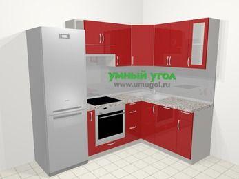 Угловая кухня МДФ глянец в современном стиле 5,7 м², 230 на 160 см, Красный: верхние модули 72 см, холодильник, корзина-бутылочница, встроенный духовой шкаф, посудомоечная машина