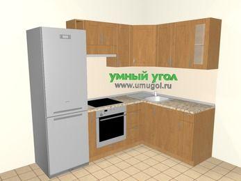Угловая кухня МДФ матовый 5,7 м², 2300 на 1600 мм, Ольха: верхние модули 720 мм, холодильник, корзина-бутылочница, встроенный духовой шкаф, посудомоечная машина