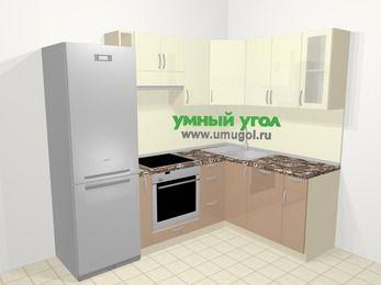 Угловая кухня МДФ глянец в современном стиле 5,7 м², 230 на 160 см, Жасмин / Капучино: верхние модули 72 см, холодильник, корзина-бутылочница, встроенный духовой шкаф, посудомоечная машина