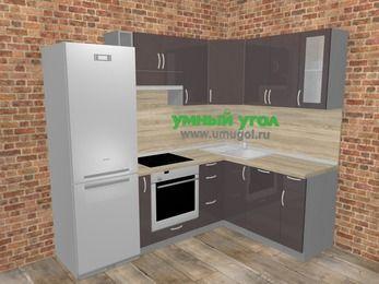 Угловая кухня МДФ глянец в стиле лофт 5,7 м², 230 на 160 см, Шоколад: верхние модули 72 см, холодильник, корзина-бутылочница, встроенный духовой шкаф, посудомоечная машина
