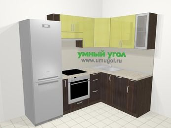 Кухни пластиковые угловые в современном стиле 5,7 м², 230 на 160 см, Желтый Галлион глянец / Дерево Мокка: верхние модули 72 см, холодильник, корзина-бутылочница, встроенный духовой шкаф, посудомоечная машина