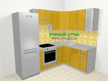 Кухни пластиковые угловые в современном стиле 5,7 м², 230 на 160 см, Желтый глянец: верхние модули 72 см, холодильник, корзина-бутылочница, встроенный духовой шкаф, посудомоечная машина