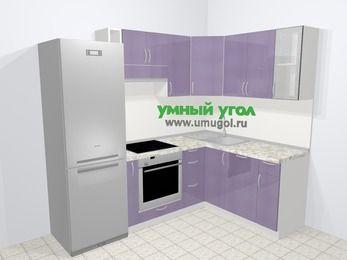 Кухни пластиковые угловые в современном стиле 5,7 м², 230 на 160 см, Сиреневый глянец: верхние модули 72 см, холодильник, корзина-бутылочница, встроенный духовой шкаф, посудомоечная машина