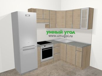 Кухни пластиковые угловые в стиле лофт 5,7 м², 230 на 160 см, Чибли бежевый: верхние модули 72 см, холодильник, корзина-бутылочница, встроенный духовой шкаф, посудомоечная машина