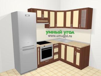 Угловая кухня из рамочного МДФ 5,7 м², 230 на 160 см, Вишня темная / Крем: верхние модули 72 см, холодильник, корзина-бутылочница, встроенный духовой шкаф, посудомоечная машина