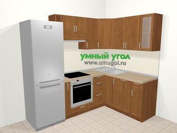 Угловая кухня из рамочного МДФ 5,7 м², 230 на 160 см, Орех: верхние модули 72 см, холодильник, корзина-бутылочница, встроенный духовой шкаф, посудомоечная машина