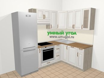 Угловая кухня МДФ патина в классическом стиле 5,7 м², 230 на 160 см, Лиственница белая: верхние модули 72 см, холодильник, корзина-бутылочница, встроенный духовой шкаф, посудомоечная машина