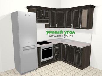 Угловая кухня МДФ патина в классическом стиле 5,7 м², 230 на 160 см, Венге: верхние модули 72 см, холодильник, корзина-бутылочница, встроенный духовой шкаф, посудомоечная машина