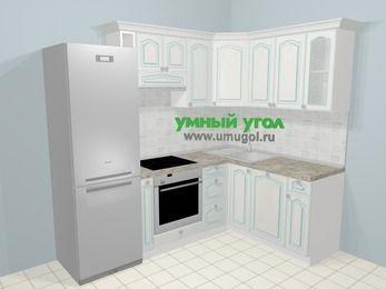 Угловая кухня МДФ патина в стиле прованс 5,7 м², 230 на 160 см, Лиственница белая: верхние модули 72 см, холодильник, корзина-бутылочница, встроенный духовой шкаф, посудомоечная машина