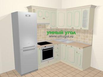 Угловая кухня МДФ патина в стиле прованс 5,7 м², 230 на 160 см, Керамик: верхние модули 72 см, холодильник, корзина-бутылочница, встроенный духовой шкаф, посудомоечная машина
