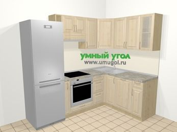 Угловая кухня из массива дерева в классическом стиле 5,7 м², 230 на 160 см, Светло-коричневые оттенки: верхние модули 72 см, холодильник, корзина-бутылочница, встроенный духовой шкаф, посудомоечная машина