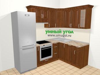 Угловая кухня из массива дерева в классическом стиле 5,7 м², 230 на 160 см, Темно-коричневые оттенки: верхние модули 72 см, холодильник, корзина-бутылочница, встроенный духовой шкаф, посудомоечная машина