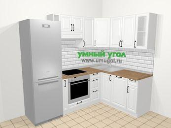 Угловая кухня из массива дерева в скандинавском стиле 5,7 м², 230 на 160 см, Белые оттенки: верхние модули 72 см, холодильник, корзина-бутылочница, встроенный духовой шкаф, посудомоечная машина