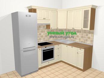 Угловая кухня из массива дерева в стиле кантри 5,7 м², 230 на 160 см, Бежевые оттенки: верхние модули 72 см, холодильник, корзина-бутылочница, встроенный духовой шкаф, посудомоечная машина