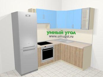Угловая кухня из ЛДСП EGGER 5,7 м², 230 на 160 см, Голубой / Дуб: верхние модули 72 см, холодильник, корзина-бутылочница, встроенный духовой шкаф, посудомоечная машина