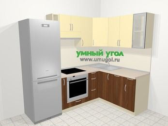 Угловая кухня из ЛДСП EGGER 5,7 м², 230 на 160 см, Ваниль / Орех: верхние модули 72 см, холодильник, корзина-бутылочница, встроенный духовой шкаф, посудомоечная машина
