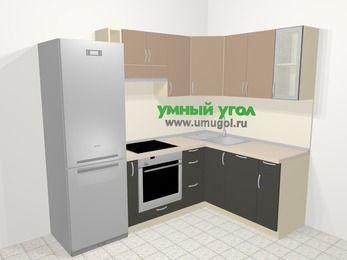 Угловая кухня из ЛДСП EGGER 5,7 м², 230 на 160 см, Бежевый / Трюфель: верхние модули 72 см, холодильник, корзина-бутылочница, встроенный духовой шкаф, посудомоечная машина